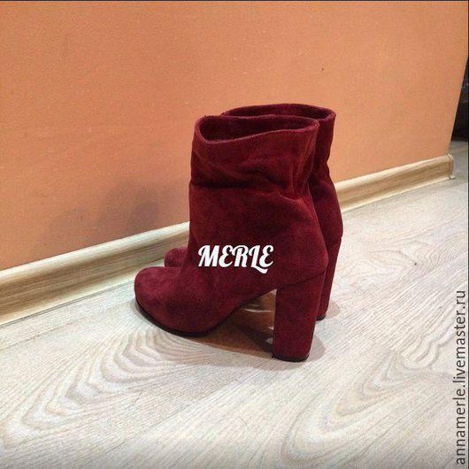 Обувь ручной работы. Ярмарка Мастеров - ручная работа. Купить Ботильоны зимние, на овчине, бордо замш,10 см. Handmade.
