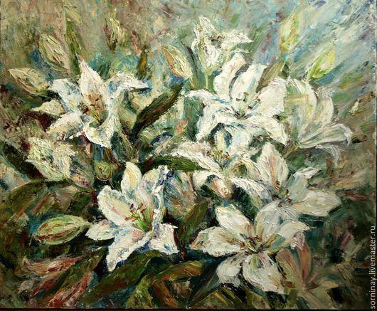"""Картины цветов ручной работы. Ярмарка Мастеров - ручная работа. Купить Картина """"Белые лилии"""". Handmade. Картина, лилии, подарок"""