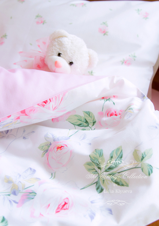 """Детская ручной работы. Ярмарка Мастеров - ручная работа. Купить Комплект в кроватку детское постельное белье шебби-шик """"Вальс Цветов"""". Handmade."""