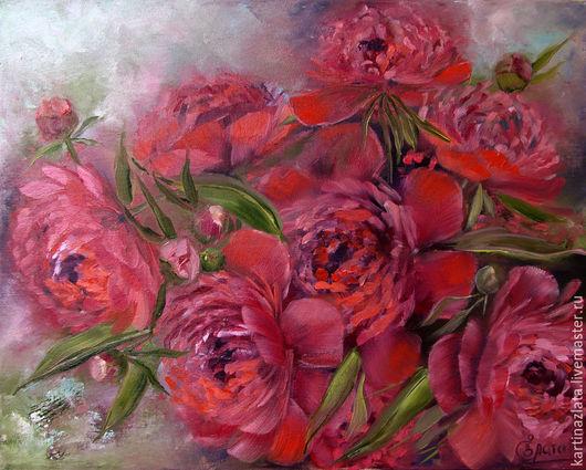 Картина `Страстные пионы`, passionate peonies
