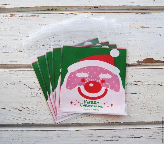 """Упаковка ручной работы. Ярмарка Мастеров - ручная работа. Купить Новогодние пакетики. """"Веселый Санта"""" 10х11см + 3см. Handmade."""
