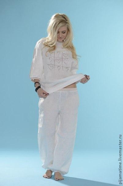 белая льняная пижамка с сердечками размер М