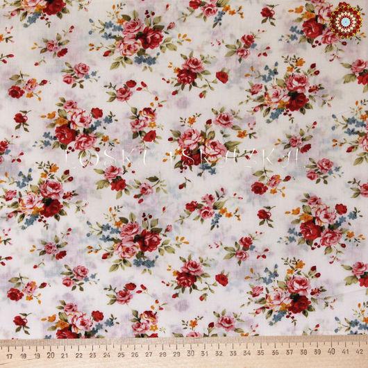 Ткань для пэчворка `Роза Утопия на белом`. Хлопок 100%. ZT-00078