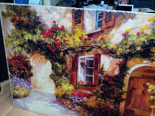 Картины цветов ручной работы. Ярмарка Мастеров - ручная работа. Купить Панно большое деревянное рельефное Дворики Тосканы W0155. Handmade.