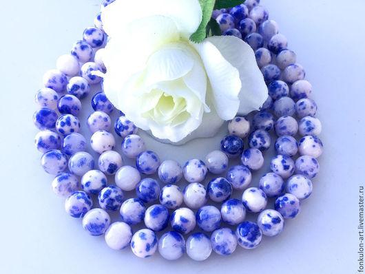 Для украшений ручной работы. Ярмарка Мастеров - ручная работа. Купить Агат двухцветный Гжель сине-белый бусины Гладкие 10мм. Handmade.