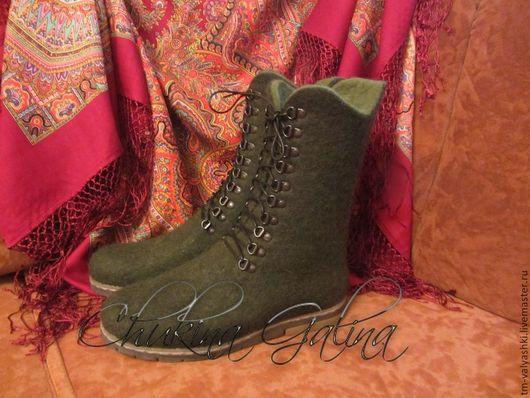"""Обувь ручной работы. Ярмарка Мастеров - ручная работа. Купить Валяные ботинки """"Оливка"""". Handmade. Тёмно-зелёный, обувь"""