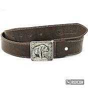 Аксессуары handmade. Livemaster - original item Brown leather belt with bear buckle. Handmade.