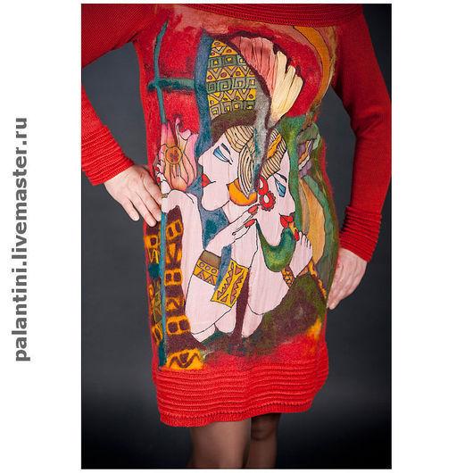 """Платья ручной работы. Ярмарка Мастеров - ручная работа. Купить """"Отражения""""Платье вязаное с декором батик + валяние. Handmade. Платье"""
