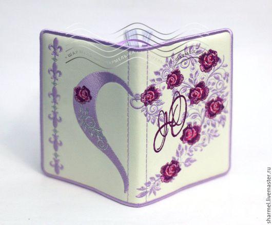 Блокнот именной вышитый `Сердце из роз сиреневое`. Вышитые вещицы от Шармель-ки.
