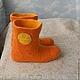 """Обувь ручной работы. Ярмарка Мастеров - ручная работа. Купить валенки для дома """"Апельсинки"""". Handmade. Рыжий, домашние валенки"""
