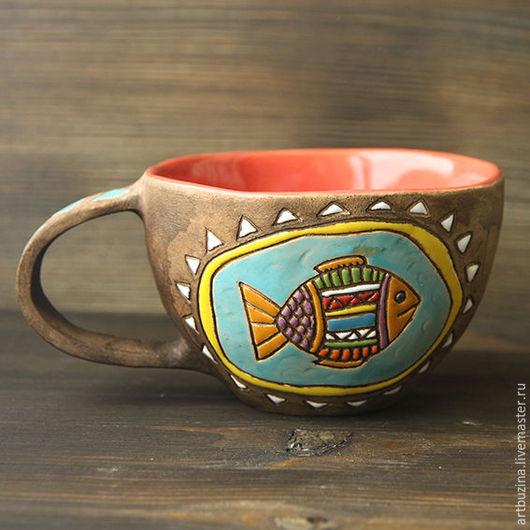Кружки и чашки ручной работы. Ярмарка Мастеров - ручная работа. Купить Кружка керамическая с рыбкой. Handmade. Комбинированный, глазурь
