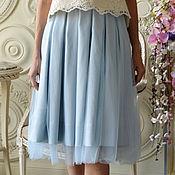 Одежда ручной работы. Ярмарка Мастеров - ручная работа Юбка фатин жемчужно-голубая. Handmade.