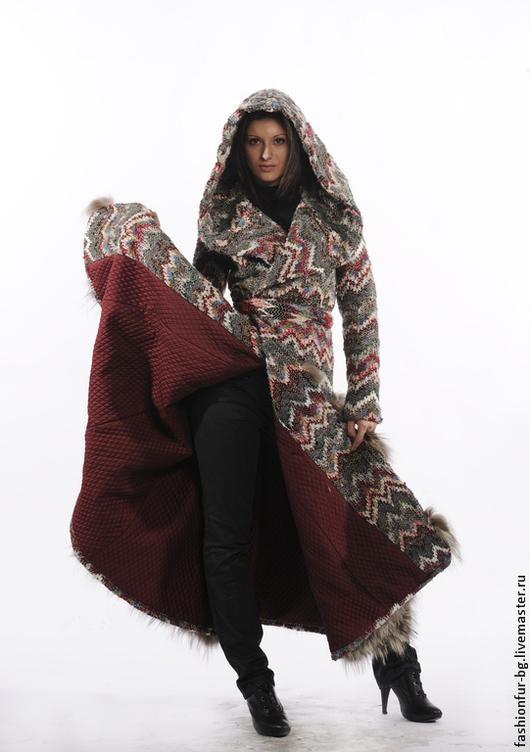Верхняя одежда ручной работы. Ярмарка Мастеров - ручная работа. Купить Пальто Elen. Handmade. Орнамент, пальто с мехом