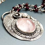 Украшения ручной работы. Ярмарка Мастеров - ручная работа Ожерелье из серебра с розовым кварцем, гранатом, жемчугом Теплый вечер. Handmade.