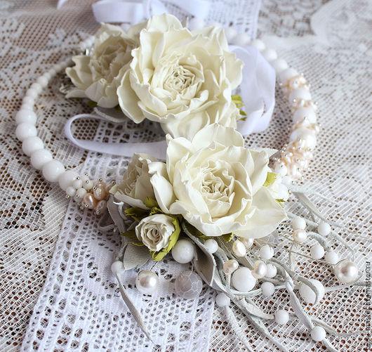 Свадебные украшения ручной работы. Ярмарка Мастеров - ручная работа. Купить комплект свадебный СЛИВКИ. Handmade. Колье цветочное