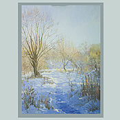 Pictures handmade. Livemaster - original item Oil painting landscape Winter sun. Handmade.