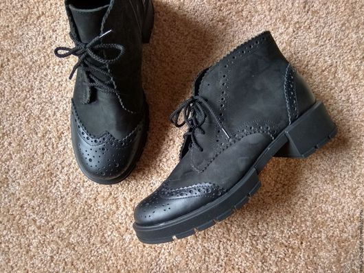 Обувь ручной работы. Ярмарка Мастеров - ручная работа. Купить Женские ботинки Anna Chaqrua. Handmade. Черный, обувь на осень
