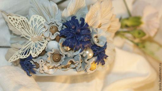 """Браслеты ручной работы. Ярмарка Мастеров - ручная работа. Купить Браслет из кожи """"Полет бабочки"""". Handmade. Голубой, браслет с цветами"""