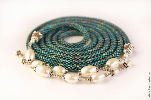 Лариаты ручной работы. Лариат `Emerald` - бисер, искусственный жемчуг.