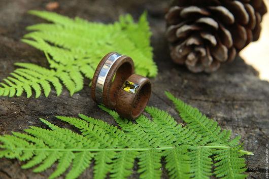 Кольца ручной работы. Ярмарка Мастеров - ручная работа. Купить Деревянные кольца с серебром. Handmade. Подарок девушке, обрачальные кольца