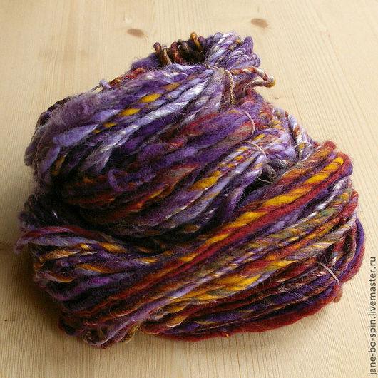 """Вязание ручной работы. Ярмарка Мастеров - ручная работа. Купить Арт пряжа ручного прядения """"Фиолетовая"""", 50. Handmade."""