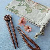 Украшения handmade. Livemaster - original item Set of 2 Sycamore Hair Stick with carving in a linen bag. Handmade.