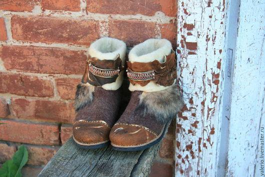 Обувь ручной работы. Ярмарка Мастеров - ручная работа. Купить Ютта. Handmade. Коричневый, шерсть