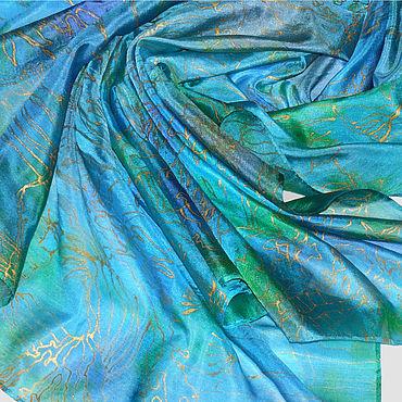 """Аксессуары ручной работы. Ярмарка Мастеров - ручная работа """"Бирюзовый подарок"""" платок из натурального шелка батик на заказ. Handmade."""