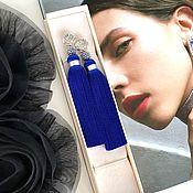 Украшения handmade. Livemaster - original item Sea song blue dark blue ultramarine Indigo cubic Zirconia brush earrings. Handmade.