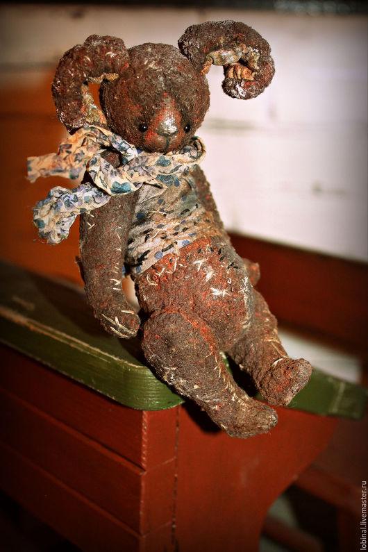 """Мишки Тедди ручной работы. Ярмарка Мастеров - ручная работа. Купить зайка на ладошке """" Пряничный"""". Handmade. Бордовый"""