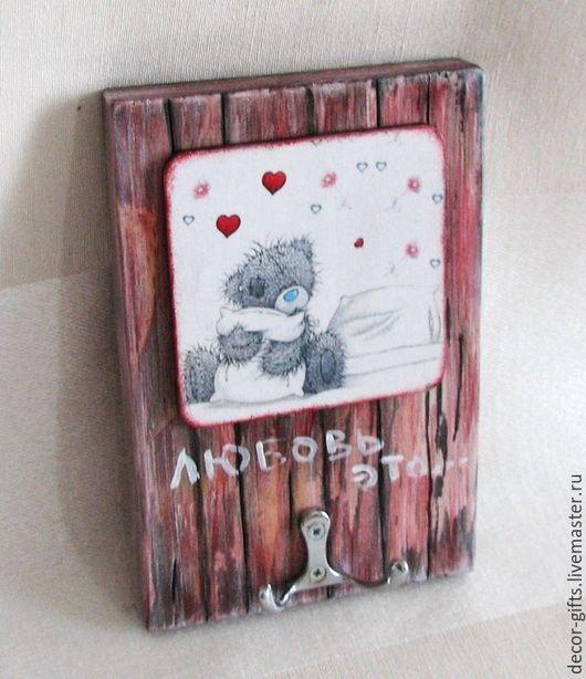 """Прихожая ручной работы. Ярмарка Мастеров - ручная работа. Купить Ключница-вешалка настенная """"Любовь это..."""" (детская, спальня). Handmade."""