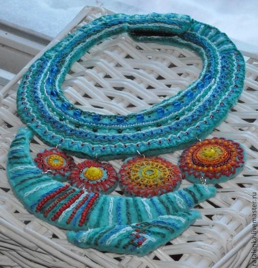 """Колье, бусы ручной работы. Ярмарка Мастеров - ручная работа. Купить Колье """"Сердце Африки"""". Handmade. Морская волна, этно"""