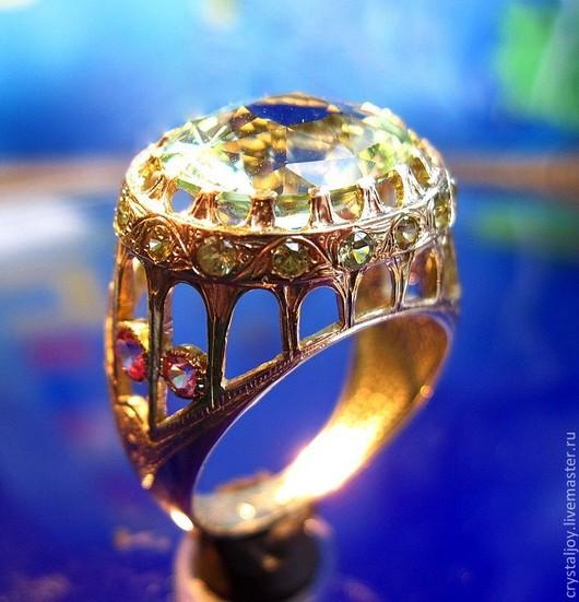 """Кольца ручной работы. Ярмарка Мастеров - ручная работа. Купить """"Гармония в сердце"""". Handmade. Берилл, талисман, салатовый, шпинели"""
