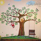 """Дизайн и реклама ручной работы. Ярмарка Мастеров - ручная работа Роспись стены """"Сказочное дерево"""". Handmade."""
