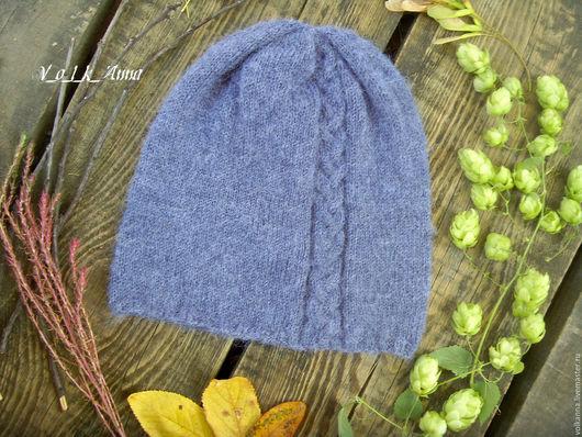 """Шапки ручной работы. Ярмарка Мастеров - ручная работа. Купить шапка бини """"Косичка"""". Handmade. Тёмно-синий, однотонный, шапка"""