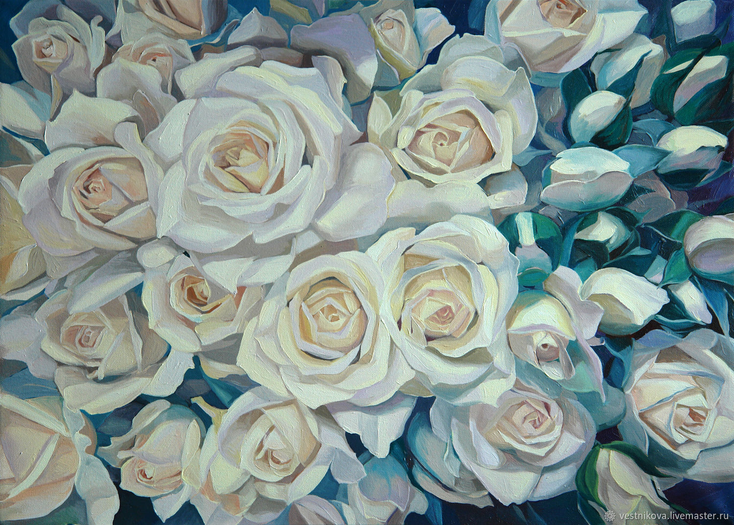 Painting white roses, oil on canvas 50h70, Pictures, Moscow, Фото №1