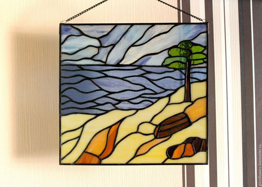 Landscape handmade. Livemaster - handmade. Buy Stained glass panels Beach Dreams.Stained glass tiffany, paintings and panels
