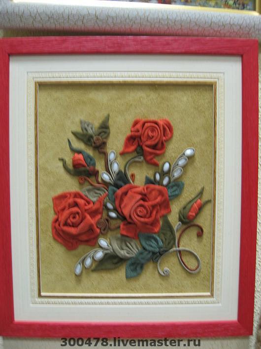 """Картины цветов ручной работы. Ярмарка Мастеров - ручная работа. Купить Панно из кожи """"РОЗЫ"""", картина из кожи. Handmade."""