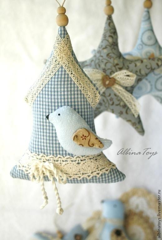интерьерные текстильные подвески нежно голубой
