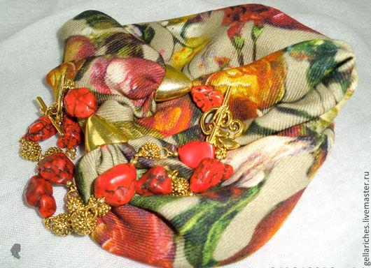 """Колье, бусы ручной работы. Ярмарка Мастеров - ручная работа. Купить Колье текстильное """"Джина"""". Handmade. Колье бусы"""