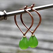 Украшения ручной работы. Ярмарка Мастеров - ручная работа Позолоченные серьги Зеленое яблоко. Handmade.