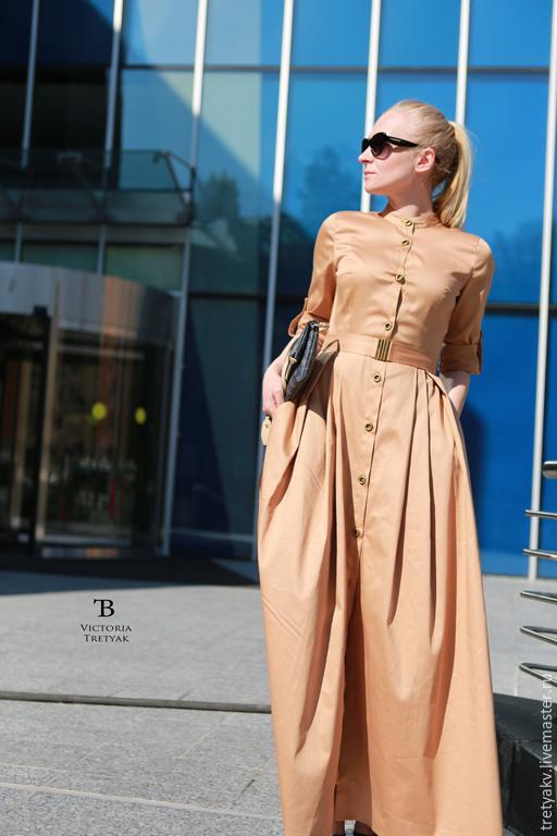 Платья ручной работы. Ярмарка Мастеров - ручная работа. Купить Платье сафари/платье в пол/длинное платье. Handmade. Бежевый, платье в пол
