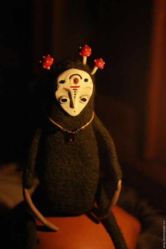 Коллекционные куклы ручной работы. Ярмарка Мастеров - ручная работа. Купить Amanita. Мухомор. Handmade. Тёмно-зелёный, лесной дух
