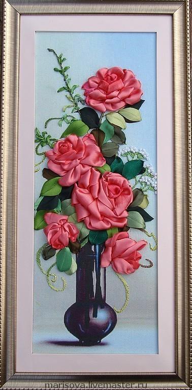"""Картины цветов ручной работы. Ярмарка Мастеров - ручная работа. Купить Картина лентами """"Очарование роз"""". Handmade. Розы, цветы"""