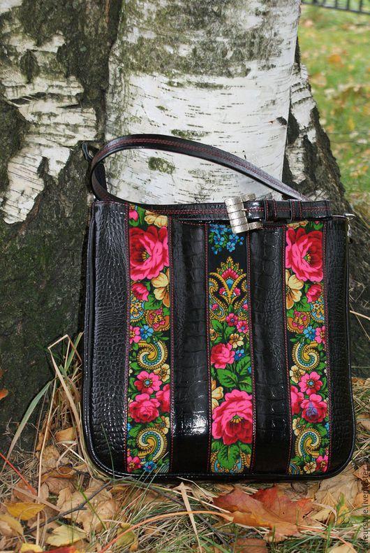 Женские сумки ручной работы. Ярмарка Мастеров - ручная работа. Купить Сумка кожаная с отделкой из платка. Handmade. Разноцветный