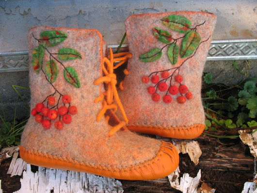 Обувь ручной работы. Ярмарка Мастеров - ручная работа. Купить Сапожки валяные Дыханье осени. Handmade. Комфортная обувь, рыжий