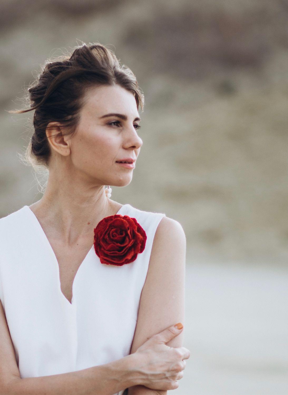 Red rose. Brooch made of felt, Brooches, Lugansk,  Фото №1