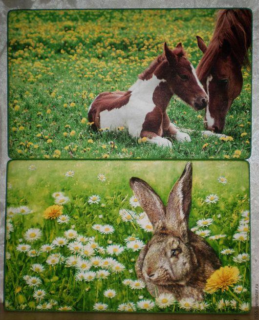 """Кухня ручной работы. Ярмарка Мастеров - ручная работа. Купить """"Заяц и лошади"""" Разделочная доска панно. Handmade. Комбинированный, панно"""