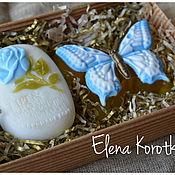 """Косметика ручной работы. Ярмарка Мастеров - ручная работа """"Бабочка и роза"""" (голубой). Набор мыла ручной работы. Handmade."""