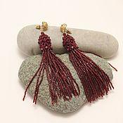 Украшения handmade. Livemaster - original item Red beaded brush earrings. Handmade.